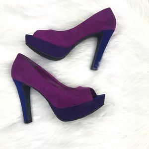 Candie's Faux Suede Colorblock Heel Pump Open Toe